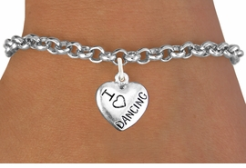 """<bR>                       EXCLUSIVELY OURS!!<BR>                 AN ALLAN ROBIN DESIGN!!<BR>        CLICK HERE TO SEE 600+ EXCITING<BR>           CHANGES THAT YOU CAN MAKE!<BR>           LEAD,CADMIUM, & NICKEL FREE!!<BR>W1180SB - """"I LOVE DANCING"""" HEART CHARM  <Br>     & BRACELET FROM $4.15 TO $8.00 �2012"""