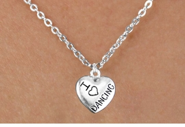 """<bR>                  EXCLUSIVELY OURS!!<BR>            AN ALLAN ROBIN DESIGN!!<BR>   CLICK HERE TO SEE 600+ EXCITING<BR>      CHANGES THAT YOU CAN MAKE!<BR>                 LEAD & NICKEL FREE!!<BR>W1180SN - """"I LOVE DANCING"""" HEART CHARM <Br>& CHILDRENS NECKLACE FROM $4.50 TO $8.35 �2012"""