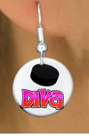 "<bR>                           EXCLUSIVELY OURS!!<BR>                     AN ALLAN ROBIN DESIGN!!<BR>            CLICK HERE TO SEE 600+ EXCITING<BR>               CHANGES THAT YOU CAN MAKE!<BR>                          LEAD & NICKEL FREE!!<BR>W1191SE - ""HOCKEY DIVA"" WOMENS ICE HOCKEY<Br>CHARM EARRINGS FROM $3.25 TO $8.00 �2012"