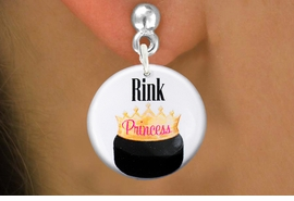 "<bR>                           EXCLUSIVELY OURS!!<BR>                     AN ALLAN ROBIN DESIGN!!<BR>            CLICK HERE TO SEE 600+ EXCITING<BR>               CHANGES THAT YOU CAN MAKE!<BR>                          LEAD & NICKEL FREE!!<BR>W1192SE - ""RINK PRINCESS"" WOMENS ICE HOCKEY<Br>CHARM EARRINGS FROM $3.25 TO $8.00 �2012"