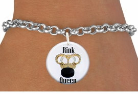 "<bR>                               EXCLUSIVELY OURS!!<BR>                         AN ALLAN ROBIN DESIGN!!<BR>                CLICK HERE TO SEE 600+ EXCITING<BR>                   CHANGES THAT YOU CAN MAKE!<BR>                             LEAD & NICKEL FREE!!<BR>W1193SB - ""RINK QUEEN"" WOMENS ICE HOCKEY<Br>CHARM  & BRACELET FROM $4.15 TO $8.00 �2012"