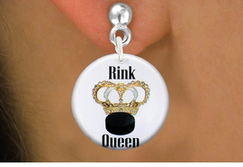 "<bR>                           EXCLUSIVELY OURS!!<BR>                     AN ALLAN ROBIN DESIGN!!<BR>            CLICK HERE TO SEE 600+ EXCITING<BR>               CHANGES THAT YOU CAN MAKE!<BR>                          LEAD & NICKEL FREE!!<BR>W1193SE - ""RINK QUEEN"" WOMENS ICE HOCKEY<Br>CHARM EARRINGS FROM $3.25 TO $8.00 �2012"