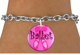 "<bR>                     EXCLUSIVELY OURS!!<BR>               AN ALLAN ROBIN DESIGN!!<BR>      CLICK HERE TO SEE 600+ EXCITING<BR>         CHANGES THAT YOU CAN MAKE!<BR>                  LEAD & NICKEL FREE!!<BR>W1228SB - PINK ""BALLET"" SHOES CHARM  <Br>& BRACELET FROM $4.15 TO $8.00 �2012"