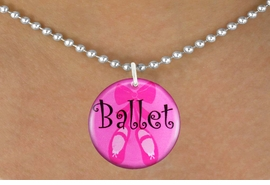 "<bR>                       EXCLUSIVELY OURS!!<BR>                 AN ALLAN ROBIN DESIGN!!<BR>        CLICK HERE TO SEE 600+ EXCITING<BR>           CHANGES THAT YOU CAN MAKE!<BR>                      LEAD & NICKEL FREE!!<BR>W1228SN - PINK ""BALLET"" SHOES CHARM <Br>  & NECKLACE FROM $4.50 TO $8.35 �2012"