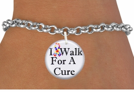 "<bR>                          EXCLUSIVELY OURS!!<BR>                    AN ALLAN ROBIN DESIGN!!<BR>           CLICK HERE TO SEE 600+ EXCITING<BR>              CHANGES THAT YOU CAN MAKE!<BR>                       LEAD & NICKEL FREE!!<BR>W1229SB - AUTISM RIBBON ""I WALK FOR A CURE"" <Br>CHARM & BRACELET FROM $4.15 TO $8.00 �2012"