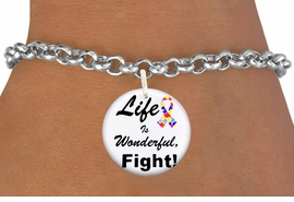 "<bR>                EXCLUSIVELY OURS!!<BR>          AN ALLAN ROBIN DESIGN!!<BR>  CLICK HERE TO SEE 600+ EXCITING <BR>    CHANGES THAT YOU CAN MAKE!<BR>             LEAD & NICKEL FREE!! <BR>W1231SB - AUTISM PUZZLE RIBBON <BR>   ""LIFE IS WONDERFUL, FIGHT!"" <Br>                    CHARM & BRACELET <BR>        FROM $4.15 TO $8.00 �2012"