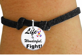 "<bR>                EXCLUSIVELY OURS!!<BR>          AN ALLAN ROBIN DESIGN!!<BR>  CLICK HERE TO SEE 600+ EXCITING <BR>    CHANGES THAT YOU CAN MAKE!<BR>             LEAD & NICKEL FREE!! <BR>W1231SB - AUTISM PUZZLE RIBBON <BR>   ""LIFE IS WONDERFUL, FIGHT!"" <Br>    CHARM & CHILDRENS BRACELET <BR>        FROM $4.15 TO $8.00 �2012"