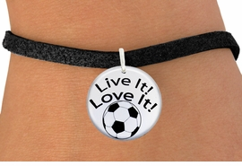 "<bR>                  EXCLUSIVELY OURS!!<BR>            AN ALLAN ROBIN DESIGN!!<BR>    CLICK HERE TO SEE 600+ EXCITING <BR>      CHANGES THAT YOU CAN MAKE!<BR>               LEAD & NICKEL FREE!! <BR>W1245SB - ""LIVE IT! LOVE IT! - SOCCER"" <Br>              DISK CHARM & BRACELET <BR>          FROM $4.15 TO $8.00 �2012"