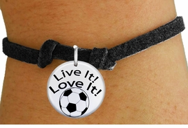 "<bR>                  EXCLUSIVELY OURS!!<BR>            AN ALLAN ROBIN DESIGN!!<BR>    CLICK HERE TO SEE 600+ EXCITING <BR>      CHANGES THAT YOU CAN MAKE!<BR>               LEAD & NICKEL FREE!! <BR>W1245SB - ""LIVE IT! LOVE IT! - SOCCER"" <Br>  DISK CHARM & CHILDRENS BRACELET <BR>          FROM $4.15 TO $8.00 �2012"