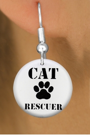 "<bR>                    EXCLUSIVELY OURS!!<BR>              AN ALLAN ROBIN DESIGN!!<BR>     CLICK HERE TO SEE 600+ EXCITING<BR>        CHANGES THAT YOU CAN MAKE!<BR>                   LEAD & NICKEL FREE!!<BR>   W1257SE - ""CAT RESCUER"" WITH PAW <Br>                 DISK CHARM EARRINGS <BR>           FROM $3.25 TO $8.00 �2012"