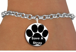 "<bR>                  EXCLUSIVELY OURS!!<BR>            AN ALLAN ROBIN DESIGN!!<BR>    CLICK HERE TO SEE 600+ EXCITING <BR>      CHANGES THAT YOU CAN MAKE!<BR>               LEAD & NICKEL FREE!! <BR>  W1260SB - ""SAVE A STRAY"" WITH PAW <Br>              DISK CHARM & BRACELET <BR>          FROM $4.15 TO $8.00 �2012"