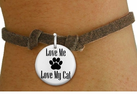 "<bR>                  EXCLUSIVELY OURS!!<BR>            AN ALLAN ROBIN DESIGN!!<BR>    CLICK HERE TO SEE 600+ EXCITING <BR>      CHANGES THAT YOU CAN MAKE!<BR>               LEAD & NICKEL FREE!! <BR>W1261SB - ""LOVE ME LOVE MY CAT"" <Br> DISK CHARM & CHILDRENS BRACELET <BR>          FROM $4.15 TO $8.00 �2012"