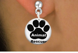 "<bR>                    EXCLUSIVELY OURS!!<BR>              AN ALLAN ROBIN DESIGN!!<BR>     CLICK HERE TO SEE 600+ EXCITING<BR>        CHANGES THAT YOU CAN MAKE!<BR>                   LEAD & NICKEL FREE!! <BR> W1262SE - ""ANIMAL RESCUER"" WITH PAW <Br>                 DISK CHARM EARRINGS <BR>           FROM $3.25 TO $8.00 �2012"