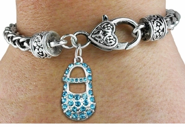 "<bR>                   EXCLUSIVELY OURS!!<BR>             AN ALLAN ROBIN DESIGN!!<BR>    CLICK HERE TO SEE 600+ EXCITING<BR>       CHANGES THAT YOU CAN MAKE!<BR>                 LEAD & NICKEL FREE!!<BR>        W1277SB - ""BOY'S BABY SHOE""<BR>   CHARM & HEART CLASP BRACELET <BR>         FROM $5.63 TO $12.50 �2012"