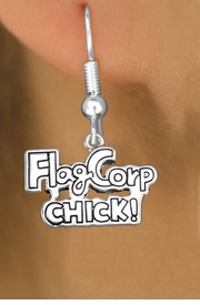 "<bR>               EXCLUSIVELY OURS!!<BR>         AN ALLAN ROBIN DESIGN!!<BR>CLICK HERE TO SEE 600+ EXCITING<BR>   CHANGES THAT YOU CAN MAKE!<BR>              LEAD & NICKEL FREE!! <BR>W1287SE -  SILVER TONE CHARM <BR>""FLAG CORP CHICK!"" EARRINGS  <BR>      FROM $4.50 TO $8.35 �2012"