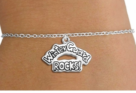 "<bR>               EXCLUSIVELY OURS!!<BR>         AN ALLAN ROBIN DESIGN!!<BR>CLICK HERE TO SEE 600+ EXCITING<BR>   CHANGES THAT YOU CAN MAKE!<BR>             LEAD & NICKEL FREE!! <BR>W1288SB - ""WINTER GUARD ROCKS!"" <BR>SILVER TONE CHILDS CHARM BRACELET <BR>     FROM $4.15 TO $8.00 �2012"