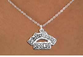 "<bR>               EXCLUSIVELY OURS!!<BR>         AN ALLAN ROBIN DESIGN!!<BR>CLICK HERE TO SEE 600+ EXCITING<BR>   CHANGES THAT YOU CAN MAKE!<BR>              LEAD & NICKEL FREE!! <BR>W1288SN -  ""WINTER GUARD ROCKS!"" <Br>SILVER TONE CHARM & NECKLACE <BR>      FROM $4.50 TO $8.35 �2012"