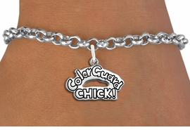 "<bR>               EXCLUSIVELY OURS!!<BR>         AN ALLAN ROBIN DESIGN!!<BR>CLICK HERE TO SEE 600+ EXCITING<BR>   CHANGES THAT YOU CAN MAKE!<BR>             LEAD & NICKEL FREE!! <BR>W1289SB - POLISHED SILVER TONE <BR>""COLOR GUARD CHICK!"" CHARM BRACELET <BR>     FROM $4.15 TO $8.00 �2012"