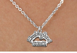"<bR>               EXCLUSIVELY OURS!!<BR>         AN ALLAN ROBIN DESIGN!!<BR>CLICK HERE TO SEE 600+ EXCITING<BR>   CHANGES THAT YOU CAN MAKE!<BR>              LEAD & NICKEL FREE!! <BR>W1290SN - ""MARCHING BAND CHICK!"" <Br>SILVER TONE CHARM & CHILDS NECKLACE <BR>      FROM $4.50 TO $8.35 �2012"