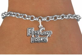 "<bR>               EXCLUSIVELY OURS!!<BR>         AN ALLAN ROBIN DESIGN!!<BR>CLICK HERE TO SEE 600+ EXCITING<BR>   CHANGES THAT YOU CAN MAKE!<BR>             LEAD & NICKEL FREE!! <BR>W1291SB - POLISHED SILVER TONE <BR>""FLAG CORP ROCKS!"" CHARM BRACELET <BR>     FROM $4.15 TO $8.00 �2012"