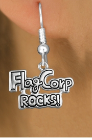 "<bR>               EXCLUSIVELY OURS!!<BR>         AN ALLAN ROBIN DESIGN!!<BR>CLICK HERE TO SEE 600+ EXCITING<BR>   CHANGES THAT YOU CAN MAKE!<BR>              LEAD & NICKEL FREE!! <BR>W1291SE -  SILVER TONE CHARM <BR>"" FLAG CORP ROCKS!"" EARRINGS  <BR>      FROM $4.50 TO $8.35 �2012"