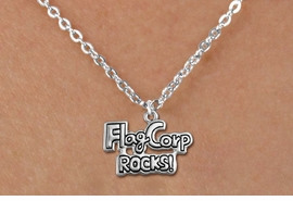 "<bR>               EXCLUSIVELY OURS!!<BR>         AN ALLAN ROBIN DESIGN!!<BR>CLICK HERE TO SEE 600+ EXCITING<BR>   CHANGES THAT YOU CAN MAKE!<BR>              LEAD & NICKEL FREE!! <BR>W1291SN -  ""FLAG CORP ROCKS!"" <Br>SILVER TONE CHARM & CHILDS NECKLACE <BR>      FROM $4.50 TO $8.35 �2012"