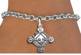 "<bR>               EXCLUSIVELY OURS!!<BR>         AN ALLAN ROBIN DESIGN!!<BR>CLICK HERE TO SEE 600+ EXCITING<BR>   CHANGES THAT YOU CAN MAKE!<BR> LEAD, CADMIUM, & NICKEL FREE!! <BR>W293SB - SOFTBALL CHARM BRACELET <BR>""A DIAMOND IS A GIRLS BEST FRIEND"" <BR>        FROM $4.15 T0O $8.00 �2012"