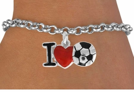 "<bR>               EXCLUSIVELY OURS!!<BR>         AN ALLAN ROBIN DESIGN!!<BR>CLICK HERE TO SEE 1600+ EXCITING<BR>   CHANGES THAT YOU CAN MAKE!<BR>      LEAD, CADMIUM, & NICKEL FREE!!<BR>        W840SB - ""I LOVE SOCCER""<Br>  BRACELET FROM $4.50 TO $8.35 ©2011"