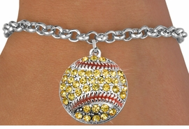 <bR>               EXCLUSIVELY OURS!!<BR>         AN ALLAN ROBIN DESIGN!!<BR>CLICK HERE TO SEE 600+ EXCITING<BR>   CHANGES THAT YOU CAN MAKE!<BR>  LEAD, CADMIUM, & NICKEL FREE!!<BR>       W973SB - YELLOW AUSTRIAN <Br>     CRYSTAL SOFTBALL CHARM &  <bR>    BRACELET FROM $5.40 TO $9.85<BR>                               �2012