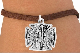 "<bR>                    EXCLUSIVELY OURS!!<BR>              AN ALLAN ROBIN DESIGN!!<BR>     CLICK HERE TO SEE 600+ EXCITING<BR>        CHANGES THAT YOU CAN MAKE!<BR>                   LEAD & NICKEL FREE!!<BR>  W979SB - ""PROTECT HIM PROTECT US"" <BR>      FIRE FIGHTER ST. FLORIAN SHIELD &<Br>         BRACELET FROM $4.15 TO $8.00"