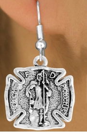 "<bR>                      EXCLUSIVELY OURS!!<BR>                AN ALLAN ROBIN DESIGN!!<BR>       CLICK HERE TO SEE 600+ EXCITING<BR>          CHANGES THAT YOU CAN MAKE!<BR>                     LEAD & NICKEL FREE!!<BR>     W979SE - PROTECT HIM PROTECT US""<BR>            ST. FLORIAN FIREMAN SHIELD<Br>         EARRINGS FROM $3.25 TO $8.00"