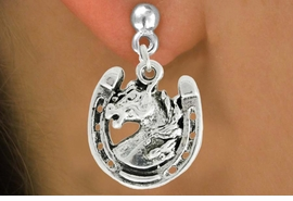 "<bR>               EXCLUSIVELY OURS!!<BR>         AN ALLAN ROBIN DESIGN!!<BR>CLICK HERE TO SEE 600+ EXCITING<BR>   CHANGES THAT YOU CAN MAKE!<BR>              LEAD & NICKEL FREE!!<BR>W986SE - ""STALLION ON HORSE SHOE""<Br>  EARRINGS FROM $3.25 TO $8.00"