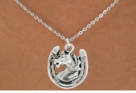 "<bR>               EXCLUSIVELY OURS!!<BR>         AN ALLAN ROBIN DESIGN!!<BR>CLICK HERE TO SEE 600+ EXCITING<BR>   CHANGES THAT YOU CAN MAKE!<BR>              LEAD & NICKEL FREE!!<BR>W986SN - ""STALLION ON HORSE SHOE""<Br>  NECKLACE FROM $4.50 TO $8.35"