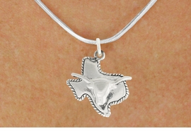 "<bR>               EXCLUSIVELY OURS!!<BR>         AN ALLAN ROBIN DESIGN!!<BR>CLICK HERE TO SEE 600+ EXCITING<BR>   CHANGES THAT YOU CAN MAKE!<BR>              LEAD & NICKEL FREE!!<BR>     W997SN - ""TEXAS LONGHORN""<Br>  NECKLACE FROM $4.50 TO $8.35"