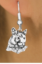 <bR>                 EXCLUSIVELY OURS!!<Br>           AN ALLAN ROBIN DESIGN!!<BR>     LEAD, NICKEL & CADMIUM FREE!! <BR>W1354SE - DETAILED COUGAR WITH <BR>CLEAR CRYSTALS CHARM EARRINGS <BR>       FROM $4.95 TO $10.00 �2012