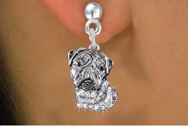 <bR>                 EXCLUSIVELY OURS!!<Br>           AN ALLAN ROBIN DESIGN!!<BR>     LEAD, NICKEL & CADMIUM FREE!! <BR>W1356SE - DETAILED BULLDOG HEAD <BR>WITH CLEAR CRYSTALS CHARM EARRINGS <BR>       FROM $4.95 TO $10.00 �2012