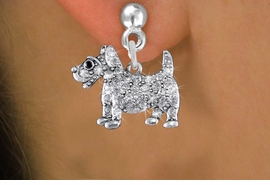 <bR>                 EXCLUSIVELY OURS!!<Br>           AN ALLAN ROBIN DESIGN!!<BR>     LEAD, NICKEL & CADMIUM FREE!! <BR>W1359SE - DETAILED TERRIER <BR>WITH CLEAR CRYSTALS CHARM EARRINGS <BR>       FROM $4.95 TO $10.00 �2012