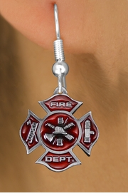 <bR>                 EXCLUSIVELY OURS!!<Br>           AN ALLAN ROBIN DESIGN!!<BR>     LEAD, NICKEL & CADMIUM FREE!! <BR>W1380SE - 2 SIDED DETAILED FIRE DEPT <BR>MALTESE CROSS CHARM EARRINGS <BR>       FROM $4.95 TO $10.00 �2012