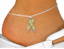 <bR>                    EXCLUSIVELY OURS!! <BR>                AN ALLAN ROBIN DESIGN!! <BR>       LEAD, NICKEL & CADMIUM FREE!! <BR>  W1385SAK - YELLOW AWARENESS <BR>  CRYSTAL RIBBON CHARM AND ANKLET <Br>           FROM $4.35 TO $9.00 �2013