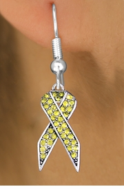 <bR>                 EXCLUSIVELY OURS!! <Br>             AN ALLAN ROBIN DESIGN!!<BR>       LEAD, NICKEL & CADMIUM FREE!! <BR>  W1385SE - YELLOW AWARENESS CRYSTAL <BR>     RIBBON CHARM EARRINGS <BR>         FROM $4.95 TO $10.00 �2013