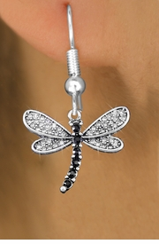 <bR>                  EXCLUSIVELY OURS!! <Br>              AN ALLAN ROBIN DESIGN!!<BR>        LEAD, NICKEL & CADMIUM FREE!! <BR>   W1393SE - SILVER TONE AND JET CRYSTAL <BR>        DRAGONFLY CHARM EARRINGS <BR>          FROM $4.95 TO $10.00 �2013