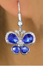 <bR>                  EXCLUSIVELY OURS!! <Br>              AN ALLAN ROBIN DESIGN!!<BR>        LEAD, NICKEL & CADMIUM FREE!! <BR>     W1395SE - SILVER TONE AND BLUE <BR>  CRYSTAL BUTTERFLY CHARM EARRINGS <BR>          FROM $4.95 TO $10.00 �2013