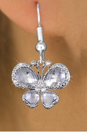 <bR>                  EXCLUSIVELY OURS!! <Br>              AN ALLAN ROBIN DESIGN!!<BR>        LEAD, NICKEL & CADMIUM FREE!! <BR> W1396SE - SILVER TONE AND CRYSTAL <BR>       BUTTERFLY CHARM EARRINGS <BR>          FROM $4.95 TO $10.00 �2013