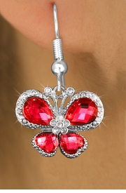 <bR>                  EXCLUSIVELY OURS!! <Br>              AN ALLAN ROBIN DESIGN!!<BR>        LEAD, NICKEL & CADMIUM FREE!! <BR>   W1398SE - SILVER TONE AND RUBY RED<BR>  CRYSTAL BUTTERFLY CHARM EARRINGS <BR>          FROM $4.95 TO $10.00 �2013