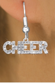 "<bR>              EXCLUSIVELY OURS!! <Br>         AN ALLAN ROBIN DESIGN!! <BR>   LEAD, NICKEL & CADMIUM FREE!! <BR> W1410SE - SILVER TONE AND CRYSTAL <BR>     ""CHEER"" WORD CHARM EARRINGS <BR>      FROM $4.95 TO $10.00 �2013"