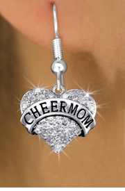"<bR>              EXCLUSIVELY OURS!! <Br>         AN ALLAN ROBIN DESIGN!! <BR>   LEAD, NICKEL & CADMIUM FREE!! <BR> W1412SE - SILVER TONE ""CHEER MOM"" <BR> CLEAR CRYSTAL HEART CHARM EARRINGS <BR>      FROM $4.95 TO $10.00 �2013"
