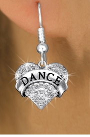 "<bR>              EXCLUSIVELY OURS!! <Br>         AN ALLAN ROBIN DESIGN!! <BR>   LEAD, NICKEL & CADMIUM FREE!! <BR> W1414SE - SILVER TONE ""DANCE"" CLEAR <BR>    CRYSTAL HEART CHARM EARRINGS <BR>      FROM $4.95 TO $10.00 �2013"