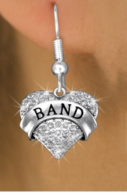 "<bR>              EXCLUSIVELY OURS!! <Br>         AN ALLAN ROBIN DESIGN!! <BR>   LEAD, NICKEL & CADMIUM FREE!! <BR> W1416SE - SILVER TONE ""BAND"" CLEAR <BR>    CRYSTAL HEART CHARM EARRINGS <BR>      FROM $4.95 TO $10.00 �2013"