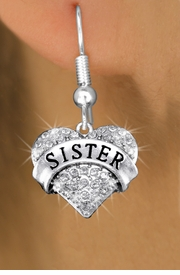 "<bR>              EXCLUSIVELY OURS!! <Br>         AN ALLAN ROBIN DESIGN!! <BR>   LEAD, NICKEL & CADMIUM FREE!! <BR>W1417SE - SILVER TONE ""SISTER"" CLEAR <BR>    CRYSTAL HEART CHARM EARRINGS <BR>      FROM $4.95 TO $10.00 �2013"