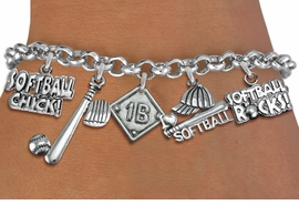 <Br>              EXCLUSIVELY OURS!!<Br>        AN ALLAN ROBIN DESIGN!!<Br>             LEAD & NICKEL FREE!! <BR>  PLAYERS  POSITION ON CHARM <Br>W19360B - SILVER TONE SOFTBALL <BR>    THEME FIVE CHARM BRACELET <BR>     FROM $7.31 TO $16.25  �2012